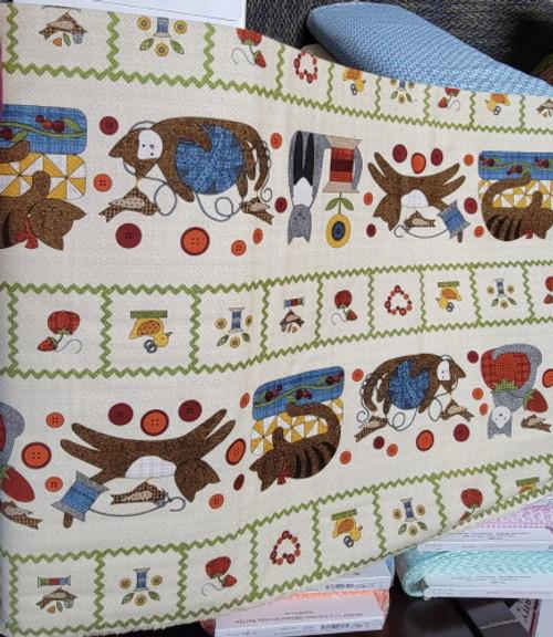 Sew Purrfect Border Stripe Flannel - MASF8315-EW-1