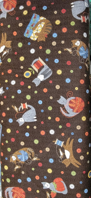 Tossed Sewing Notions and Cat Toys on Brown Flannel - MASF8317-JA