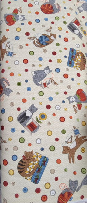 Cats with Sewing Notions and Buttons on Beige Flannel - MASF8316-EW