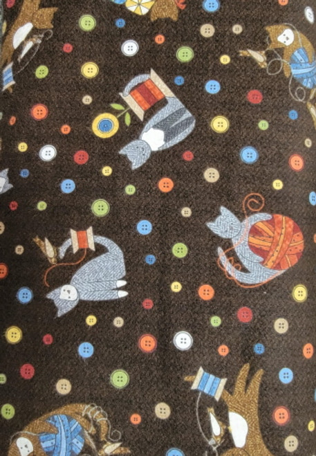 Cats with Sewing Notions and Buttons on Brown Flannel - MASF8316-JA
