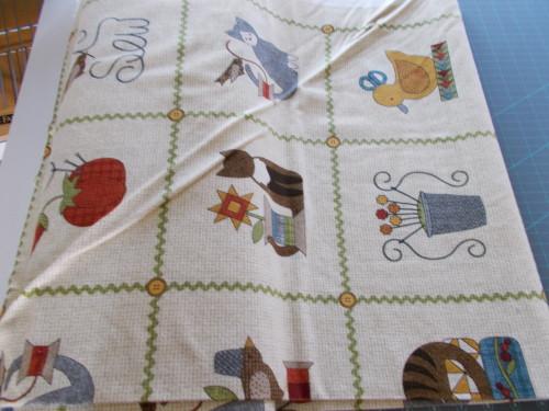 "Cats in Blocks 24"" 15 Scene Repeat on Beige Flannel - MASF8318-EW"