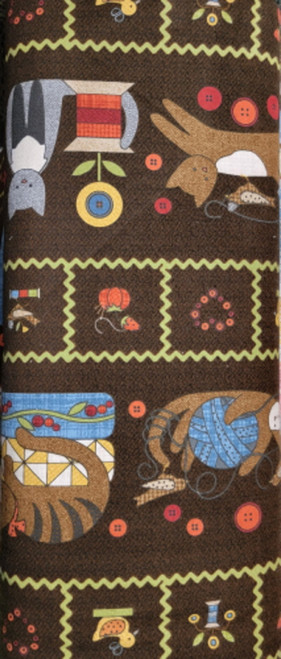 Cats & Sewing Notions Border Print on Brown Flannel - MASF8315-JA