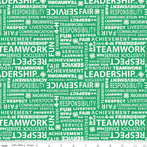 4H Principles Text on Green Fabric - C9124 Green