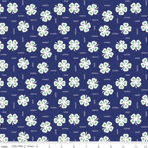 4H Clovers on Blue Fabric - C9121 Blue