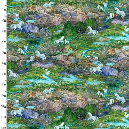 Unicorns on a Rocky Landscape With Stream - 17136-GRN-CTN-D