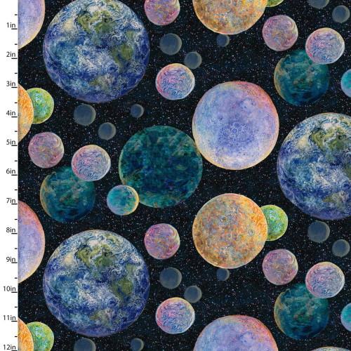Planets on Black Fabric - 17132-BLK-CTN-D