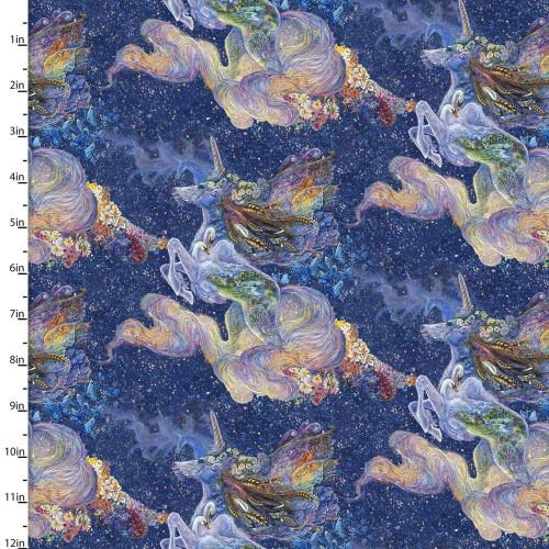 Celestial Unicorns Fabric - 17131-NVY-CTN-D