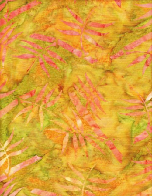 ORANGE, PINK AND GREENS HAND MADE BATIK FABRIC