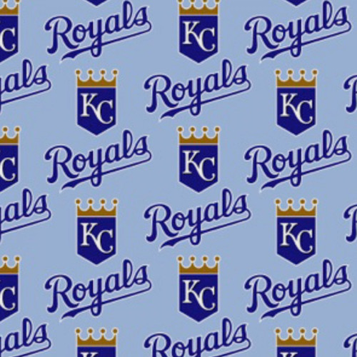 "KANSAS CITY ROYALS LIGHT BLUE LICENSED FABRIC - 60"" Wide - 6641 B"