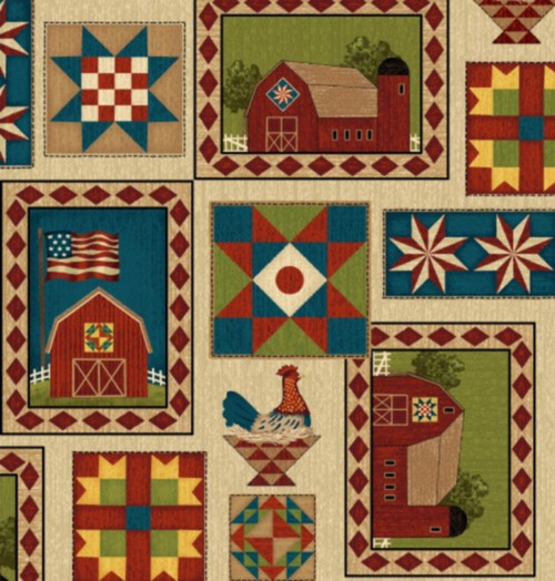 FARM PATCHES WITH BLOCKS, BARNS, CHICKENS, ETC. FABRIC