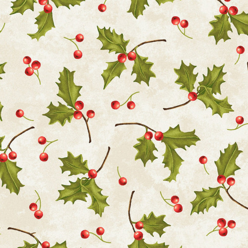 HOLLY LEAVES, BERRIES & STEMS ON WHITE FABRIC