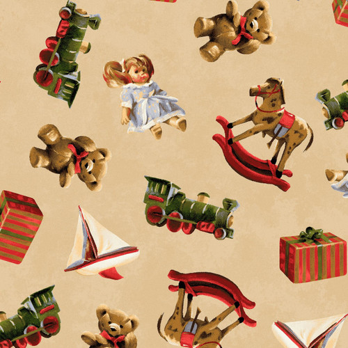 ASSORTED VINTAGE TOYS ON TAN FABRIC
