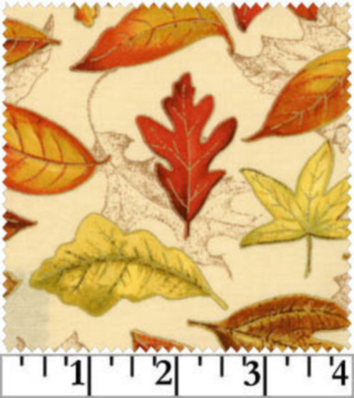 TOSSED LEAVES IN VIBRANT FALL COLORS ON BEIGE