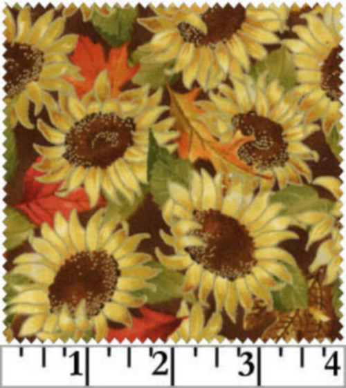 SUNFLOWERS & LEAVES & MORE SUNFLOWERS ON BROWN