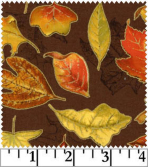 TOSSED LEAVES IN VIBRANT FALL COLORS ON BROWN