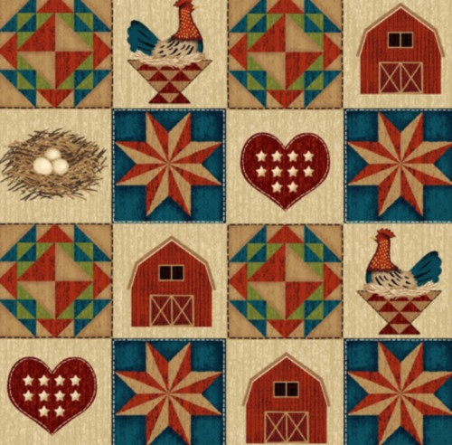 FARM TILES WITH BLOCKS, BARNS, CHICKENS, NESTS, ETC. FABRIC