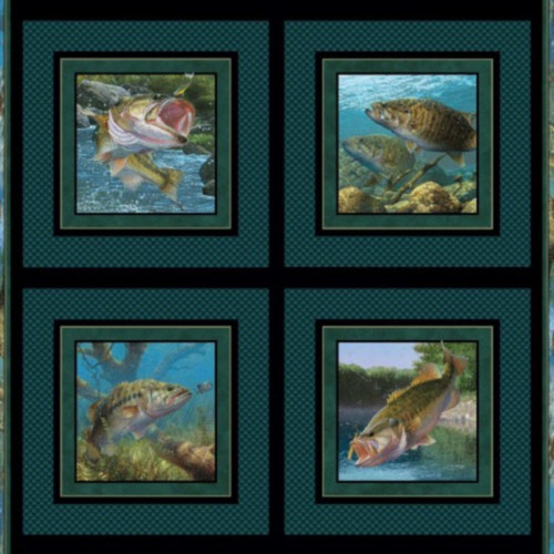 4 SCENE BASS PILLOW PANEL ON WATER BLUE