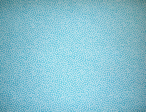 WHITE POLKA DOTS ON TURQUOISE FABRIC