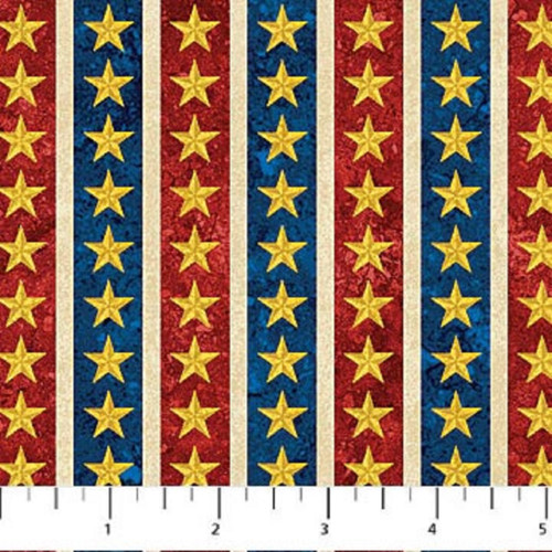 GOLD STARS WITH RED WHITE & BLUE STRIPES FABRIC