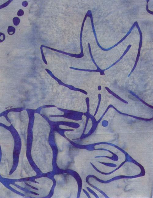 MULTI SHADED BLUE AQUATIC DESIGNS ON LIGHT BLUE MARBLE HAND MADE BATIK FABRIC