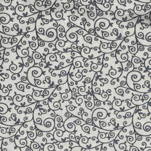 DARK GREY VINES & SMALL LEAVES ON LIGHT GREY FABRIC
