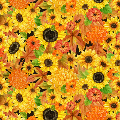 PACKED SUNFLOWERS AND OTHER FLOWERS AND LEAVES