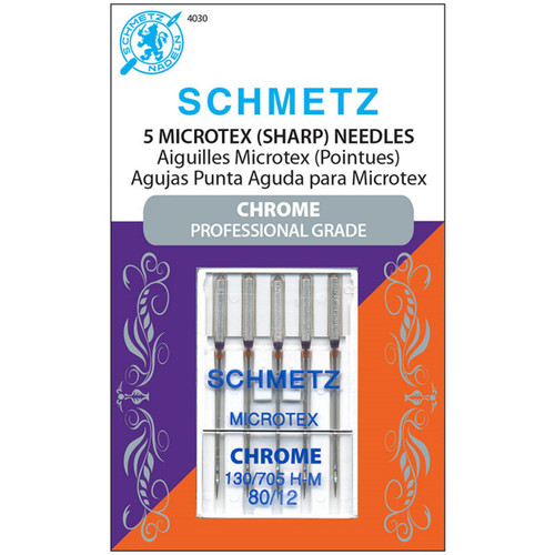 MICROTEX SCHMETZ CHROME PROFESSIONAL GRADE NEEDLES - 5 ct, Size 80/12 - #4030