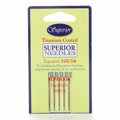 SUPERIOR SEWING MACHINE NEEDLES - 5 PK - Topstitch 100/16