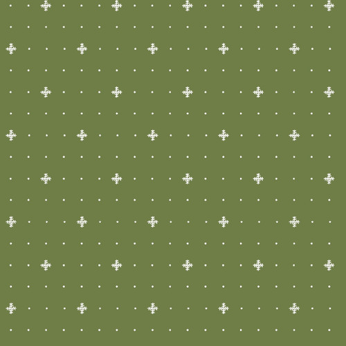 MINIATURE SNOWFLAKES ON GREEN FLANNEL