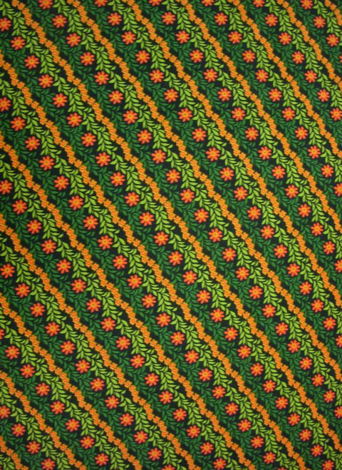 GREEN AND ORANGE FLORAL DIAGONAL STRIPE FABRIC