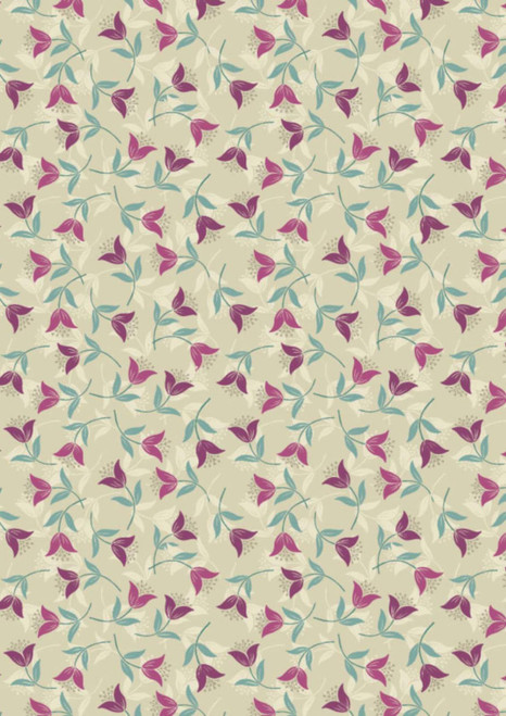 FUCHSIA FLOWERS WITH TEAL, WHITE & GRAY ON LIGHT MOSS GREEN
