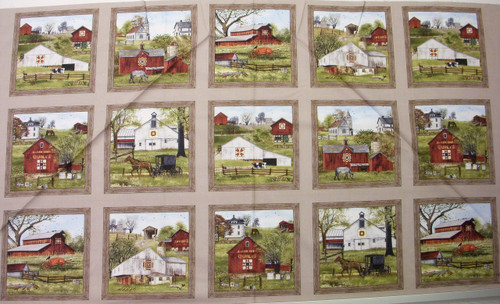 "VINTAGE FARMS 15 SCENE PANEL - Approx 23 1/2"" x 44"" - 4704 Sepia"