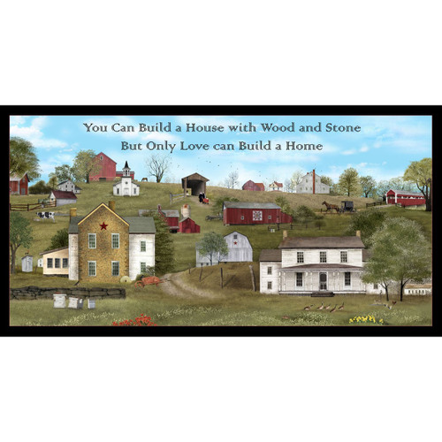 "VINTAGE FARM SCENE WITH VERSE PANEL - Approx 23 1/2"" x 44"" - 4705 Blue"