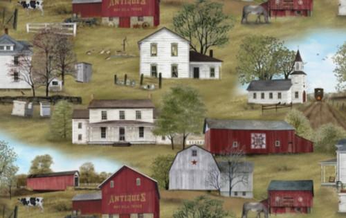 FARM VILLAGE WITH BARN BLOCKS FABRIC - 4700 Green - Headin' Home