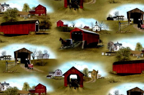 FARM VILLAGE WITH COVERED BRIDGES, BARNS ETC. FABRIC - 4703 Green - Headin' Home