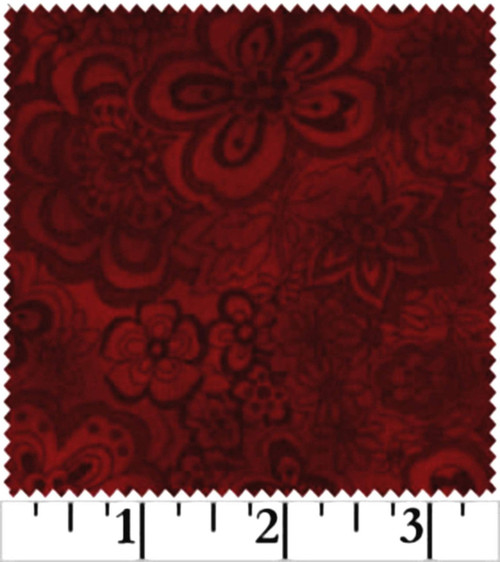 DARK RED & GRAY SHADOWED FLOWERS ON A RED BACKGROUND