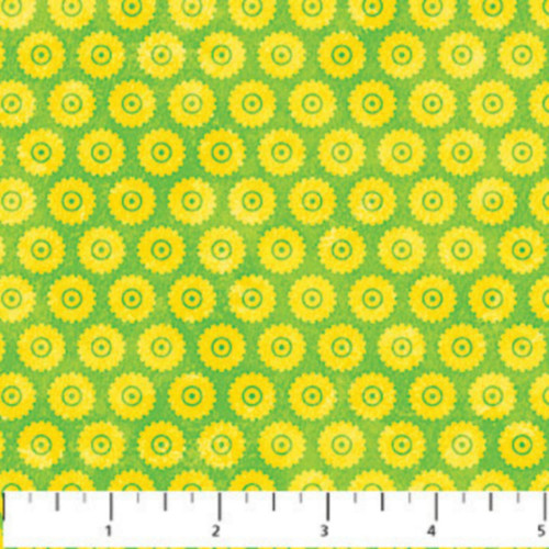 YELLOW WHEELS ON LIME GREEN - MONSTER TRUCK COORDINATE FABRIC