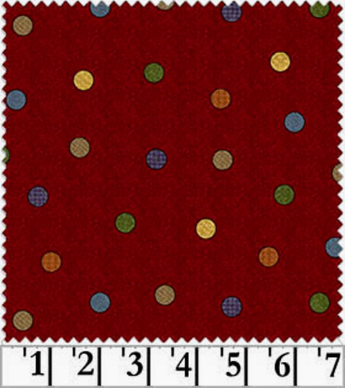 MULTI-COLOR DOTS ON RED FLOWER PATCH FLANNEL