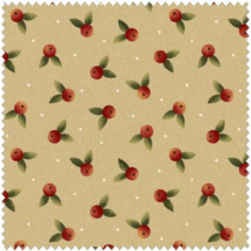 RED CHERRIES WITH GREEN LEAVES ON OFF WHITE WOOLIES FLANNEL COORDINATE