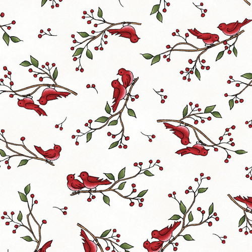 BIRDS ON TWIGS ON WHITE FLANNEL