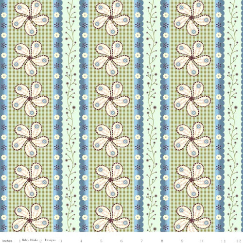 BROWN, BLUES AND GREENS CALICO STRIPE/DESIGNS FABRIC