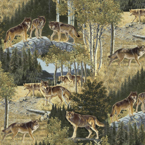 MULTIPLE WOLVES ON A MOUNTAINSIDE FABRIC