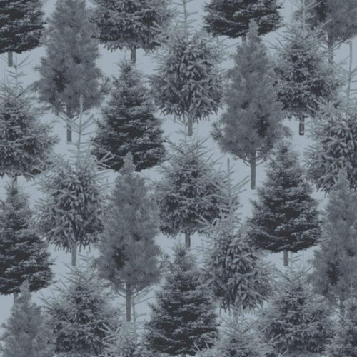 PINE TREES ON LIGHT BLUE FABRIC