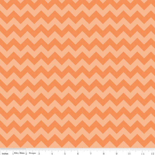 SMALL ORANGE TONE ON TONE CHEVRONS FABRIC