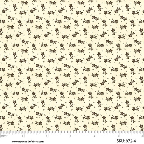 BROWN DITSY FLOWER ON CREAM FABRIC