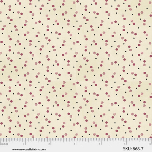 PINK & BLACK MULTI STYLE DOTS ON CREAM FABRIC