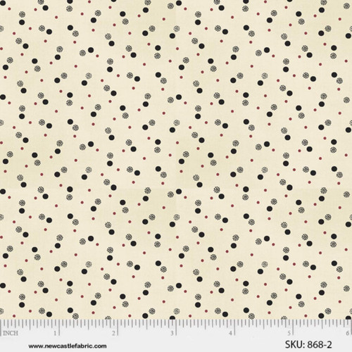 BLACK AND RED MULTI STYLE DOTS ON CREAM FABRIC