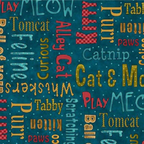 CAT SAYINGS ON BLUE FABRIC
