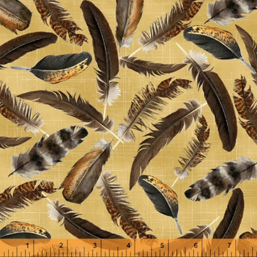 ASSORTED BROWN AND BLACK FEATHERS ON GOLD FABRIC