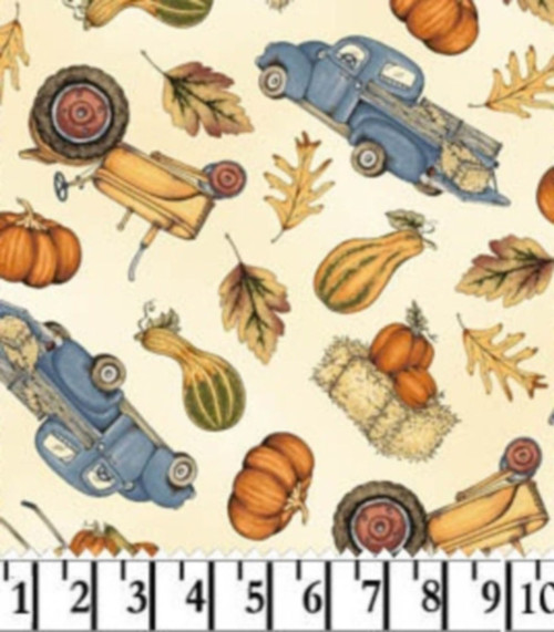 TRUCKS, TRACTORS, LEAVES, PUMPKINS AND GOURDS FABRIC